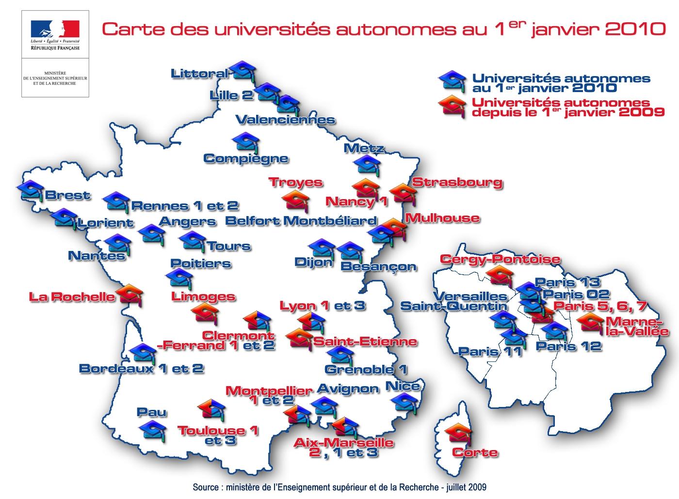 Universités autonomes janvier 2010