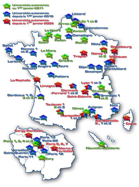 73 universités autonomes au 1er janvier 2011